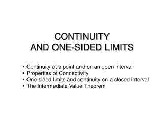 CONTINUITY  AND ONE-SIDED LIMITS