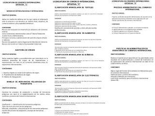 """LICENCIATURA EN COMERCIO INTERNACIONAL OPTATIVA  """"1"""""""
