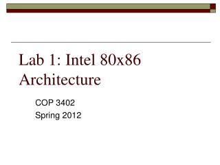 Lab 1: Intel 80x86 Architecture