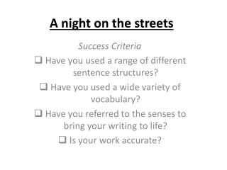 A night on the streets