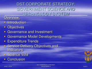 DST CORPORATE STRATEGY: GOVERNMENT SCIENCE AND TECHNOLOGY SYSTEM
