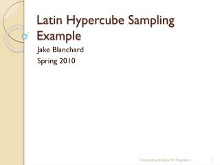 Latin Hypercube Sampling Example