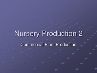 Nursery Production 2
