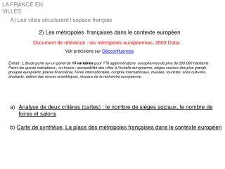 2) Les métropoles  françaises dans le contexte européen