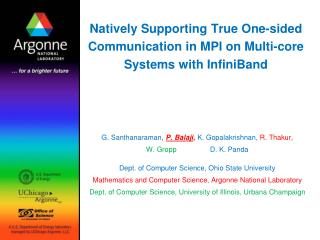 Natively Supporting True One-sided Communication in MPI on Multi-core Systems with InfiniBand