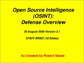 Open Source Intelligence  (OSINT): Defense Overview