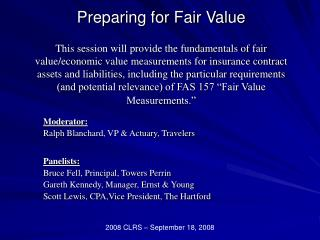 Preparing for Fair Value