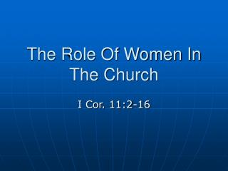 The Role Of Women In The Church