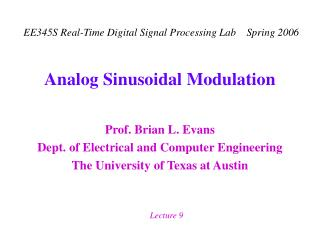 Analog Sinusoidal Modulation