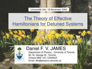 The Theory of Effective  Hamiltonians for Detuned Systems