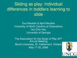 Sliding as play: Individual differences in toddlers learning to slide