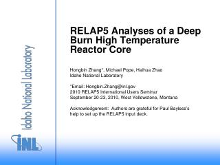 RELAP5 Analyses of a Deep Burn High Temperature Reactor Core