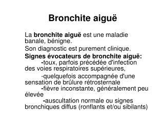 Bronchite aiguë