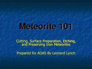 Meteorite 101