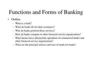 Functions and Forms of Banking