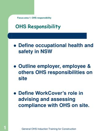 Focus area 1: OHS responsibility  OHS  Responsibility