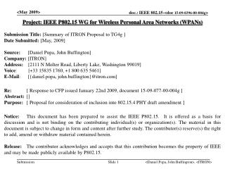 Project: IEEE P802.15 WG for Wireless Personal Area Networks (WPANs)