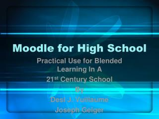 Moodle for High School
