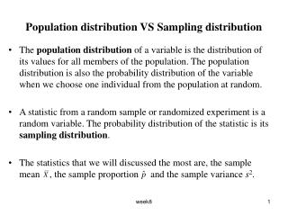 Population distribution VS Sampling distribution