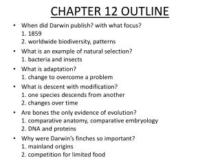 CHAPTER 12 OUTLINE