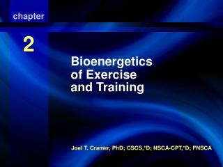 Bioenergetics of Exercise And Training