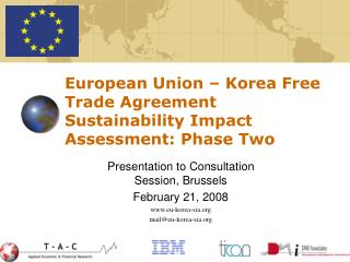 European Union – Korea Free Trade Agreement Sustainability Impact Assessment: Phase Two