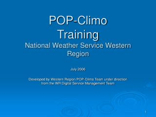 POP-Climo Training National Weather Service Western Region