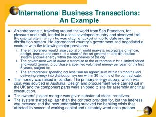International Business Transactions:  An Example