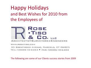 Happy Holidays and Best Wishes for 2010 from the Employees of