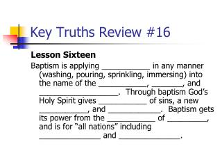 Key Truths Review #16