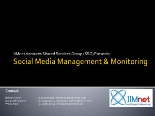 Social Media  Management &  Monitoring