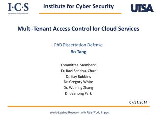 Multi- Tenan t  Access Control for Cloud  Services