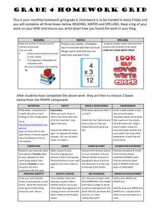 Grade 4 Homework Grid