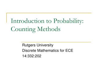 Introduction to Probability: Counting Methods