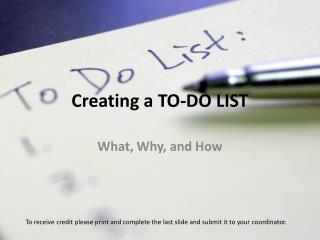 Creating a TO-DO LIST