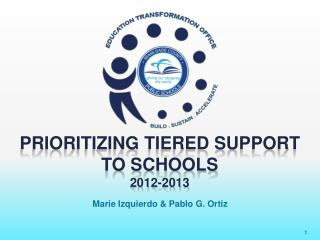 Prioritizing Tiered Support  to Schools 2012-2013