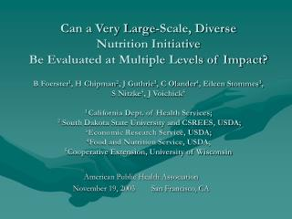 American Public Health Association November 19, 2003        San Francisco, CA