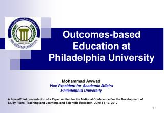 Outcomes-based Education at Philadelphia University