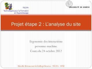 Projet étape 2 : L 'analyse du site