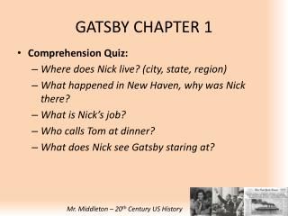 GATSBY CHAPTER 1