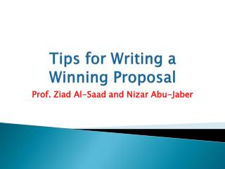 Tips for Writing a Winning Proposal