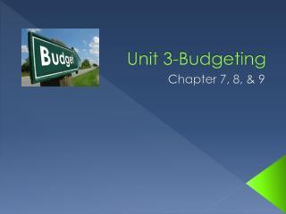 Unit 3-Budgeting