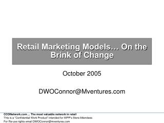 Retail Marketing Models… On the  Brink of Change
