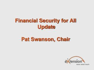Financial Security for All  Update Pat Swanson, Chair