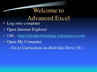 Welcome to  Advanced Excel