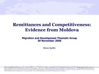 Remittances and Competitiveness: Evidence from Moldova