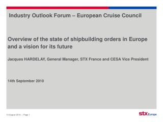Industry Outlook Forum – European Cruise Council