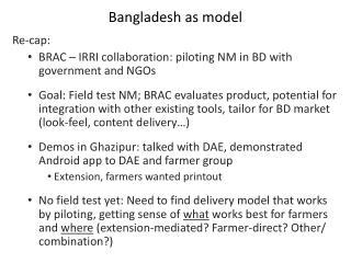 Bangladesh as model
