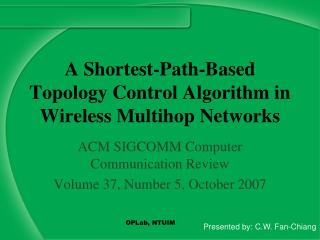 A Shortest-Path-Based Topology Control Algorithm in Wireless Multihop Networks