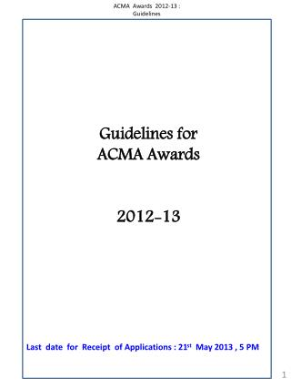 Guidelines for  ACMA Awards  2012-13